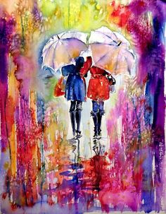 Buy Girlfriends under umbrella - perfect gift idea, Watercolour by Kovács Anna Brigitta on Artfinder. Discover thousands of other original paintings, prints, sculptures and photography from independent artists.