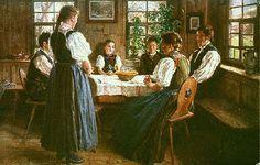 Wilhelm Hasemann: Tischgebet  Künstlerpostkarte Serie VI No. 5 Vertrieb: Frauenverein Gutach, ohne Datum