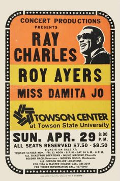 Ray Charles concert poster, 1973