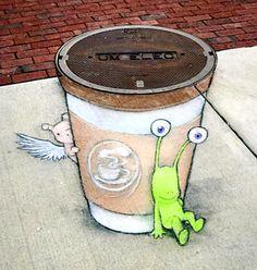love his work - David Zinn, Ann Arbor, Michigan USA, 2017 Murals Street Art, 3d Street Art, Amazing Street Art, Street Art Graffiti, Mural Art, Street Artists, Graffiti Artists, Amazing Art, David Zinn