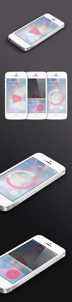 Smart washer app UI by Hyelim Choi, via Behance---배경의 느낌을 참고 Web Design, Ios App Design, Mobile Ui Design, Graphic Design, Gui Interface, User Interface Design, App Design Inspiration, Branding, Applications Mobiles