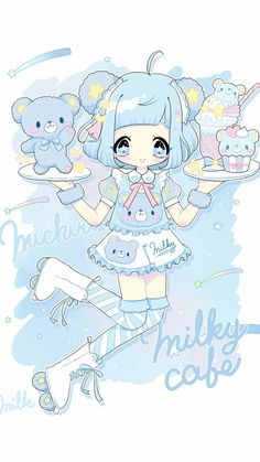 Ideas For Baby Girl Drawing Illustration Sweets Cute Kawaii Drawings, Cute Animal Drawings, Kawaii Art, Cute Anime Chibi, Kawaii Anime Girl, Cute Anime Wallpaper, Cute Cartoon Wallpapers, Baby Girl Drawing, Kawaii Illustration