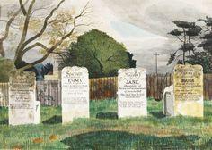 Kenneth Rowntree, The Livermore Gravestones, Barnston, near Dunmow, Essex 1942