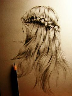 sketch of a girl's hair - Google Search