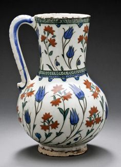 Iznik jug (ewer), last quarter of 16th century, fritware, underglaze-painted,  8 1/2 x 5 1/4 inches / 21.59 x 13.34 cm (photo: Los Angeles County Museum of Art) http://collections.lacma.org/node/239586