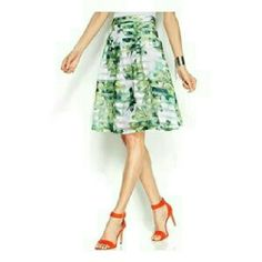 """INC Printed Skirt A-line skirt detailed with a botanical print and sheer stripes, hits at knee, approx. 24"""". INC International Concepts Skirts"""