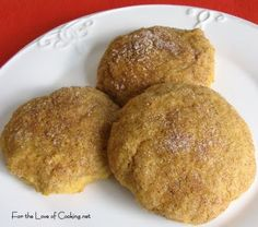 For the Love of Cooking » Pumpkin Snickerdoodle Cookies ~ My Erin says these are good (and that they made her house smell like a Yankee candle!)