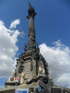 Christopher Columbus Statue in Las Ramblas in Barcelona.