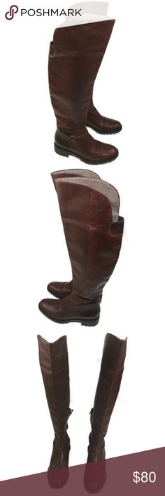 """Cole Haan Chestnut Brown Parson Riding Boot 7.5B Cole Haan Chestnut Brown Parson Riding Boot 7.5B Beautiful deep brown leather over the knee riding boot 1.5"""" Heel Waterproof  Great condition. Little to no wear to soles as shown in photos. Upper in great condition. Cole Haan Shoes Over the Knee Boots"""