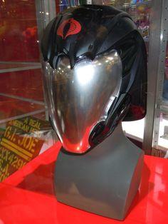 Custom Gi-Joe Cobra Commander Motorcycle Helmet Cool Bike Helmets, Motorcycle Helmet Design, Motorcycle Equipment, Motorcycle Gear, Riding Helmets, Cosplay Armor, Cosplay Helmet, Biker Accessories, Cobra Commander