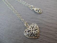 Heart necklace in sterling silver filigree by MarciannJewelry, $24.00