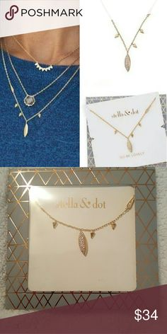 """SALE! NEW Stella & Dot Aurora Drop Necklace Brand new in original packaging. Stella & Dot Aurora Drop Necklace Gold plated with micro pave stones and small gold drops on a delicate chain. 17"""" with 3"""" extender.  This is a very popular necklace and sold out on S&D website. So this is your chance to buy this beauty.  No trades. Stella & Dot Jewelry Necklaces"""