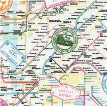 Timeless Treasures European Cities Map- Cotton - width inches - 1 Yard This pattern is a city map design with postal stamps of Rome, Paris, London, New York and Great Britain.