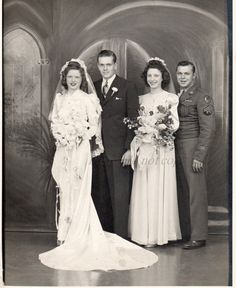 Vintage WWII Wedding Photo original black and white by photopicker