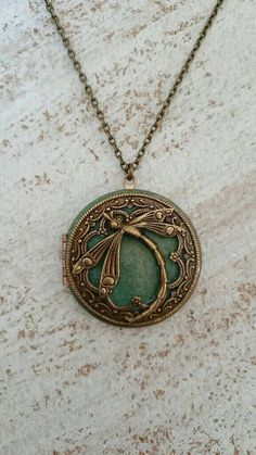 Dragonfly Locket Pendant Necklace  Vintage Antique by PinkLaLou