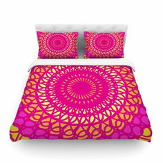 "Pattern Muse ""Radiant Pomegranate"" Pink Yellow Cotton Duvet Cover"