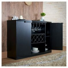 Rosio Transitional Criss Cross Wine Storage Dining Buffet Black - Homes: Inside + Out, Galaxy Black