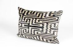 Double-sided, silk velvet ikat pillow