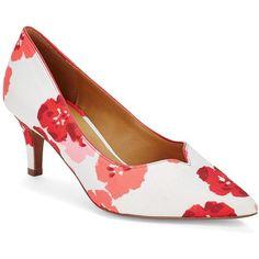 Kay Unger Shimsham Floral Point Toe Pumps ($290) ❤ liked on Polyvore
