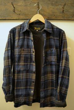 independencechicago: Engineered Garments Plaid Twill Work Shirt and Levi's Vintage Clothing Washed Black Crew Neck Sweatshirt