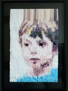 Portrait collages made from strips of colored paper