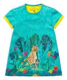 This Turquoise Leopards Tatou Dress - Girls is perfect! #zulilyfinds