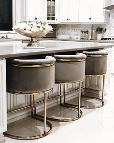 Looking for dream kitchen inspiration? Be tempted by these stunning nature inspired luxurious kitchens by top interior designers! Home Decor Kitchen, Interior Design Kitchen, Home Kitchens, Bar Kitchen, Kitchen Ideas, Kitchen Grey, Kitchen Stools, Room Kitchen, Kitchen Modern