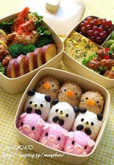 日本人のごはん/お弁当 Japanese meals/Bento ブタさん,熊さん,モグラさん弁当。Little Piggies! And little Pandas! And...Something-or-others!