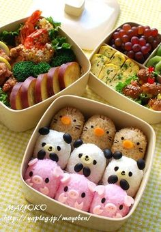 日本人のごはん/お弁当 Japanese meals/Bento ブタさん,熊さん,モグラさん弁当。Little Piggies! And little Pandas! And...Something-or-others!