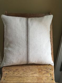 Grain Sack Pillow Cover Tan Stripe Grain Sack by CottageDesigns
