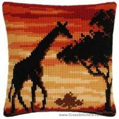 Giraffe Sunset Cushion Front Cross Stitch Kit by Vervaco