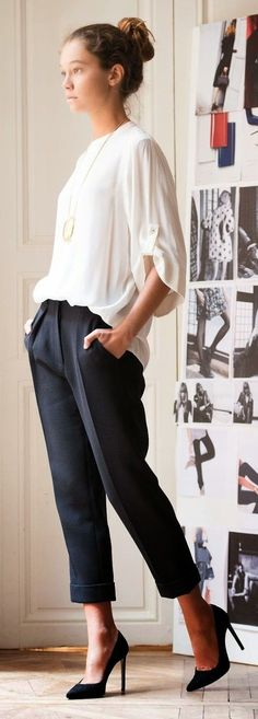 Like the ease of the blouse while still being suitable for business casual office. The pants look like they have pleats and pleats DO NOTHING for me.