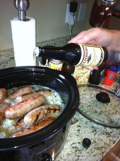 Brats. grill first, then put them in the crock pot with onions, beer & apple…