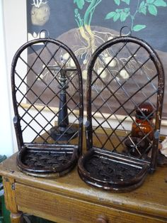 Vintage Pair Rattan & Willow Wall or Tabletop by TroveMagpie