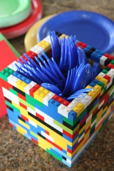 Lego birthday party ideas--Lego utensil holder. Am I too old to have a lego birthday party? Love it.