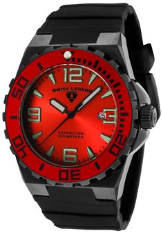 Men's Wrist Watches - Swiss Legend Mens Expedition Red Dial Black Silicone Watch ** Click image for more details. Cheap Watches For Men, Affordable Watches, Luxury Watches For Men, Fine Watches, Cool Watches, Wrist Watches, Watch Sale, Casio Watch, Quartz Watch