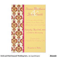 Gold and Pink Damask Wedding Invitation