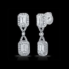Emerald Cut Diamond Drop Earrings by Norman Silverman.  Available at Alson Jewelers.