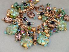 Green copper and turquoise polymer clay cha cha by wilywolverine, $56.95