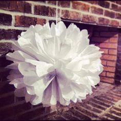 Tissue Pom Poms for wedding shower decor. And I did it myself. Double boom.