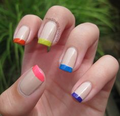 Naked neon french tip #nailart via MaD Manis