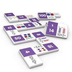 Multiplication dominoes include a 28 piece set on thick plastic dominoes. Dominoes come in a collectors tin for storage. Children will love the feel of real dominoes as they complete the numeracy matching game. School Age Activities, Hands On Activities, School Resources, Educational Games, Learning Games, Money Bingo, Learning Multiplication, Maths, Mathematics Games