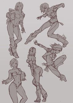 starting KOF drawings until XIV release. First is Angel. Here are the pose sketches, one will be taken to a final.