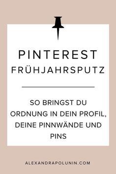 Pinterest-Frühjahrsputz! Als waschechter Pinterest-Nerd miste ich natürlich nicht nur meinen Kleiderschrank aus, sondern verpasse auch gleich meinem Pinterest-Account einen kleinen Frühjahrsputz. Denn von Zeit zu Zeit bringe ich gerne frischen Wind in meine allerliebste Marketing-Plattform. Bist du dabei? Dann lass uns deinen Pinterest-Account jetzt gemeinsam aus dem Winterschlaf holen! #pinterestmarketing #pinterest #pinteresttipps #socialmediamarketing