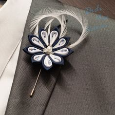 Wedding Flower Lapel Pin  Navy Blue and White by DidiArtCorner, $22.99