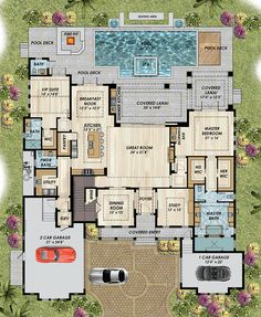 Find your dream coastal style house plan such as Plan which is a 4940 sq ft, 4 bed, 4 bath home with 3 garage stalls from Monster House Plans. Dream House Plans, House Floor Plans, My Dream Home, Mediterranean House Plans, Mediterranean Style, Coastal House Plans, Monster House Plans, House Blueprints, Sims House
