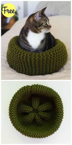 Needlework Projects Cat Bed Free Knitting Pattern - This cute and easy to make cat bed from our cat bed free knitting pattern is the perfect thing for your cat! Use this free pattern now! Easy Knitting, Knitting Stitches, Knitting Patterns Free, Crochet Patterns, Free Pattern, Knitting Tutorials, Knitting Machine, Diy Knitting Ideas, Stitch Patterns