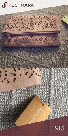New clutch Great detail beautiful color blush pink Francesca's Collections Bags Clutches & Wristlets