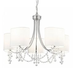 Nina 5 Light Chandelier Ceiling Light in Chrome with White Shades 5 Light Chandelier, Chandelier Shades, Ceiling Chandelier, Ceiling Light Design, Ceiling Lights, Wall Lights, Ceiling Pendant, Polished Chrome, Accessories