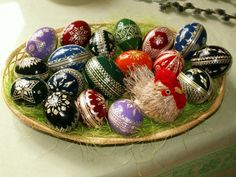 Hanácké kraslice, a traditional way of decorating Easter eggs with straw in the region of Haná, the Czech Republic. The photograph was taken on an exhibition of egg decorating in Bělkovice-Lašťany in the Czech Republic.